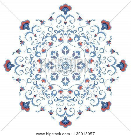 Abstract round ornament mandala with styled flowers. Eastern circular floral motif pattern isolated on white background