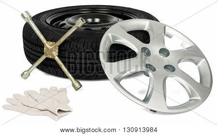 Tyre with screwdriver, glove and wheel cap. Isolated