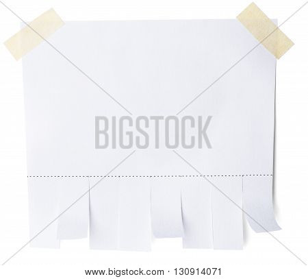 Blank white paper with tear off tabs. Isolated on white