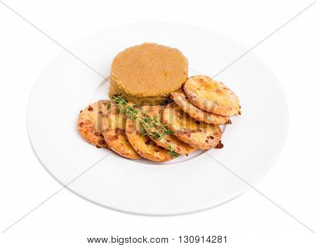 Goose liver pate and cheese scones. Isolated on a white background.
