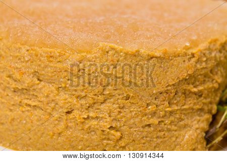 Closeup of goose liver pate. Macro. Photo can be used as a whole background.
