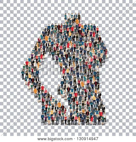 A group of people in the form of a woman's body, fitness, isometrick ,  web infographics concept  illustration of a crowded square, flat 3d. Crowd point group forming a predetermined shape. Creative people.Transparency grid. 3D illustration.