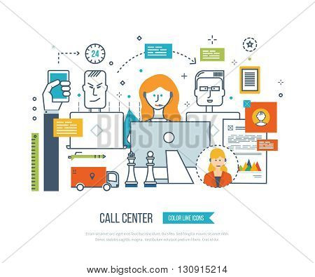Concept for call center, user support office workplace and team work. Team working office computer client support service. Online shopping full: up to the client, delivery, round the clock call center