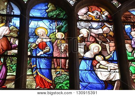 Offranville France - july 17 2015 : stained glass window of the church