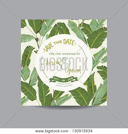 Save the Date Card. Tropical Banana Leaves. Wedding Card. Invitation Card. Vector
