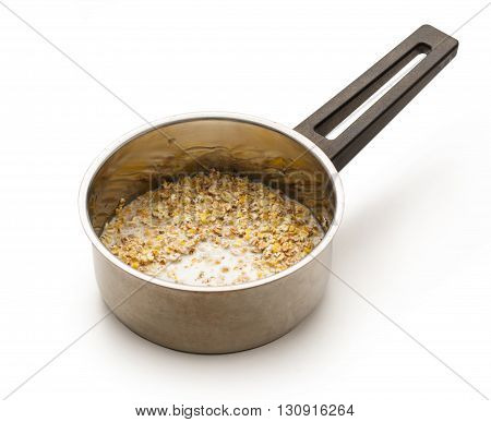 Cooking Healthy Porridge In Metal Pot