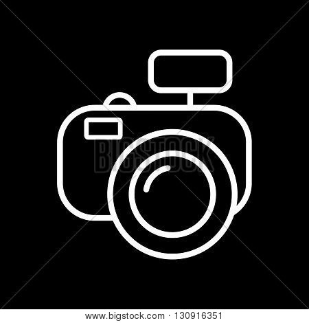 Modern photo camera line art vector icon isolated on a black background.