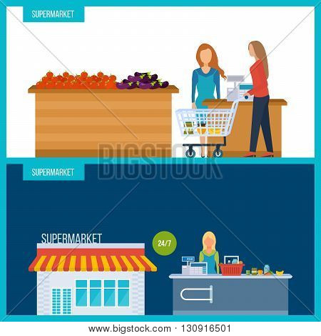 Supermarket store concept with food assortment icons illustration vector. Shop grocery. Market shop. People in supermarket interior design. Healthy eating and eco food. Vector flat illustrations