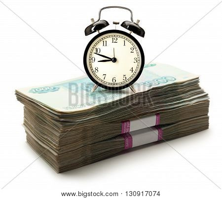 Pile Of Money And Alarm Clock