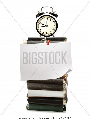 Paper Folders, Alarm Clock And Blank Paper