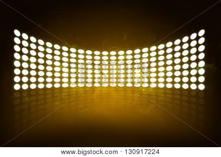 Empty scene poster template with shining spotlights. Exhibition background