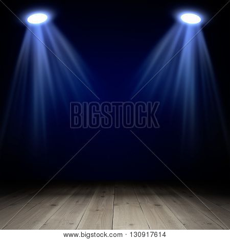Spotlights on wooden floor in empty room. Template for design
