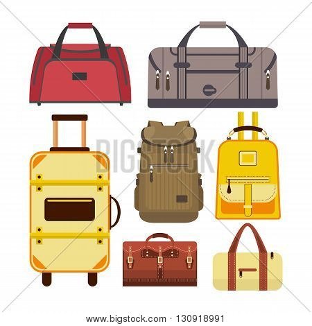 Vector set of travel bags. Illustration with different types of luggage icons isolated on white background.