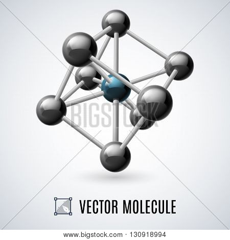 Black molecular structure isolated on a gray background