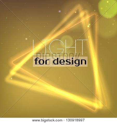 Abstract Neon triangle. Background with luminous swirling sparkle. Glowing triangle. Shine triangle frame tunnel with light  effect. Cover for your presentation and design with space for your message
