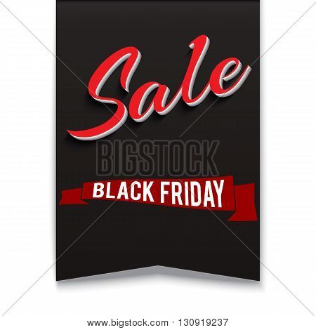 Black friday sale banner on transparent background. Symbol of sales, Black Friday, in the shape pennant. Promotional posters for your business offers, advertising shopping flyers and discount banners