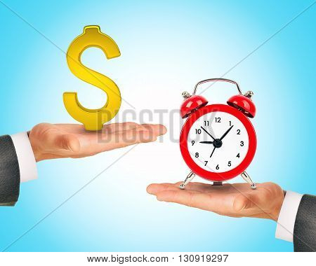 Dollar sign on one hand and alarm clock on another hand, concept of deal and time.