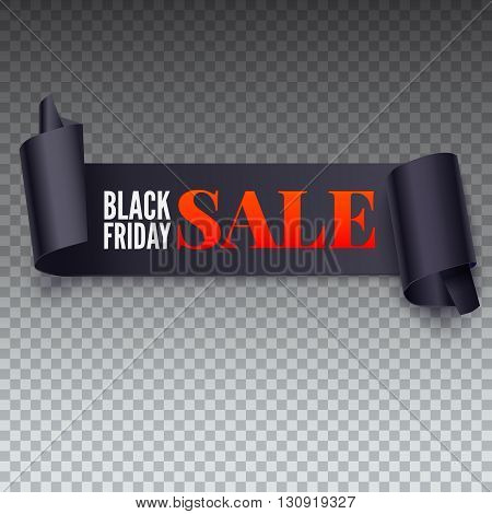 Black Friday Sale twisted banner. Black friday sale banner on transparent background. Symbol of sales, Black Friday. Promotional posters for your business offers, flyers and discount banners