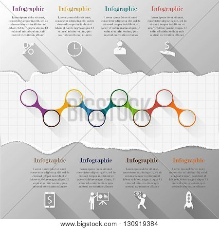 Timeline infographic template with torn paper. Template for diagram, graph, presentation and chart. Business concept with 8 options, parts, steps or processes. Abstract background.