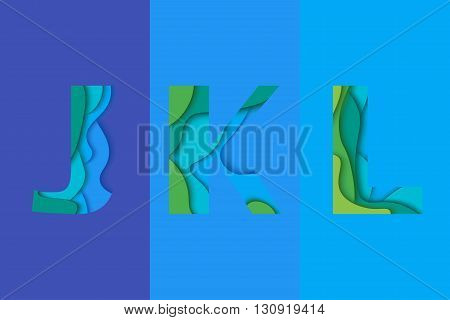 Letters J K L design template element. Material design Characters JKL vector logo icon and sign.