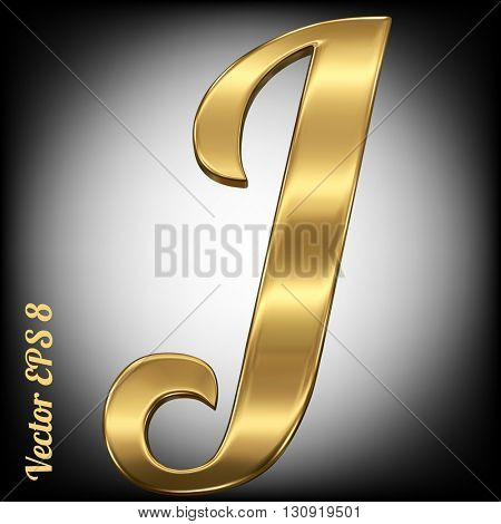 Vector letter J from gold solid alphabet. Eps 8 using mesh.