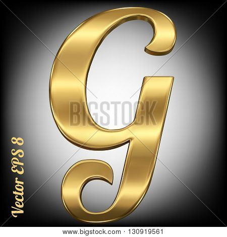 Vector letter G from gold solid alphabet. Eps 8 using mesh.