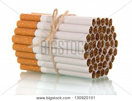 Cigarettes associated with rope isolated on white background.