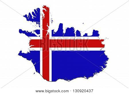 Silhouette Of Iceland Map With Flag