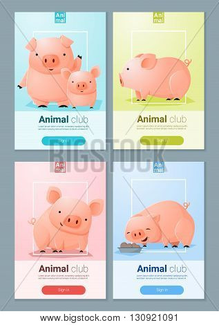 Animal banner with Pigs for web design , vector , illustration