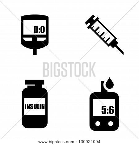 Diabetes black icon set. Blood Glucose Test. Hand holding Glucose Meter