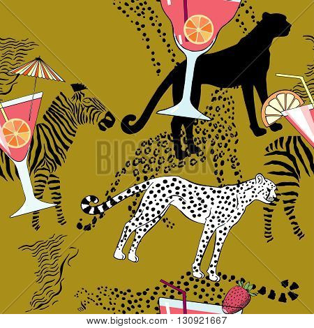 Seamless pattern with cocktail on exotic background.Hand drawn  vector Illustration