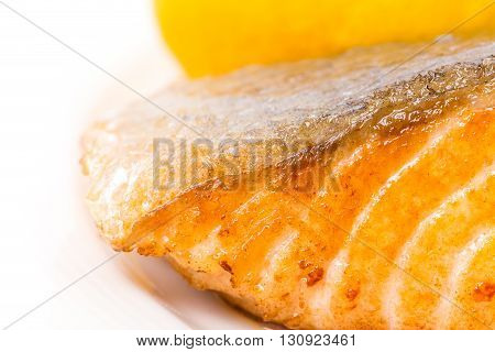 Grilled salmon fillet with brussel sprouts and sliced lemon. Macro. Photo can be used as a whole background.