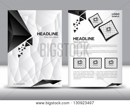 Abstract vector modern flyer brochure  Annual report black and white polygon background
