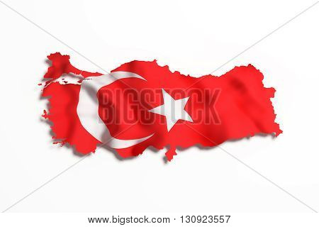 Silhouette Of Turkey Map With Flag