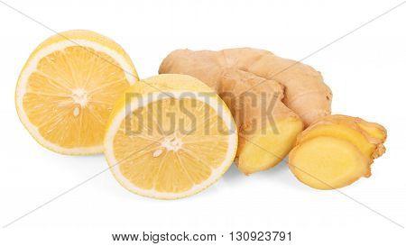 Fresh lemon and ginger isolated on a white background.