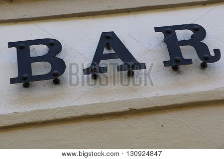 Bar sign in the city of Prague