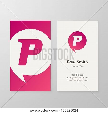 Modern letter P in speech bubble Business card template. Vector business personal card design. Layered editable.