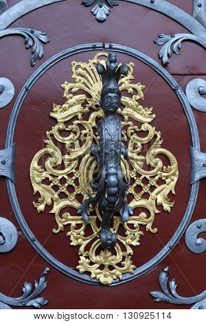 Detail of an ancient door in the city of Prague