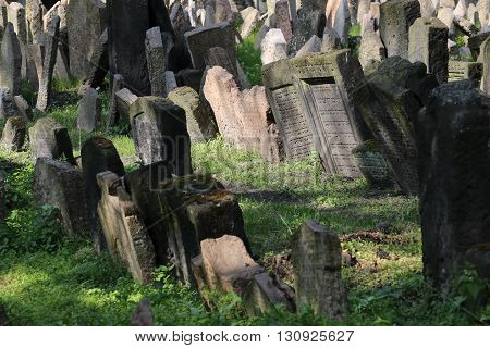 Tombstones of the old jewish cemetery of Prague