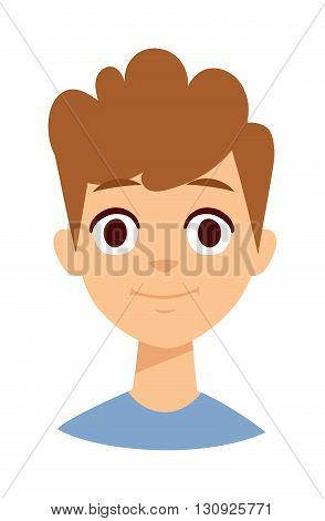 Young happy boy smile face. Boy smile face vector illustration and happy boy smile face. Boy smile face happiness joy childhood. Smiling small youth human boy face character.