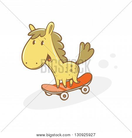 Card with cute cartoon  horse riding on  skateboard. Funny animal. Children's illustration. Vector image.