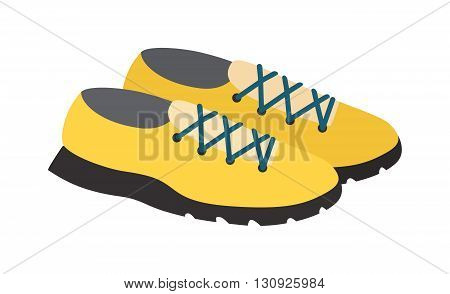 Yellows sneakers isolated and fashion footwear yellow sneakers. Vector yellow sneakers and pair sport yellow sneakers. Fashion yellow footwear fitness clothing running shoelace athletic accessories.