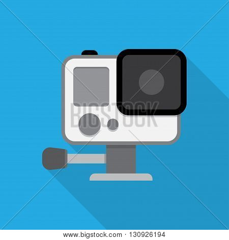 Action camera in waterproof box. Equipment for filming extreme sports. vector illustration isolated with shadow