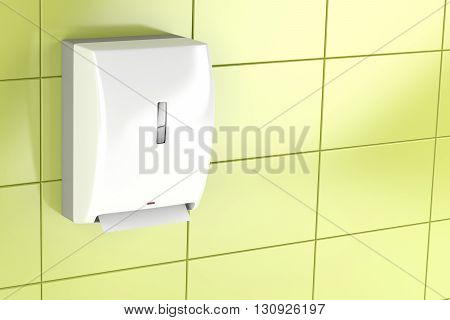 Automatic paper towel dispenser on green tiled wall, 3D illustration