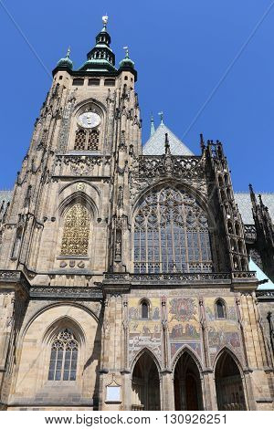 The St. Vitus Cathedral of the city of Prague