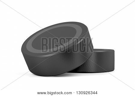 Two ice hockey pucks on white background, 3D illustration