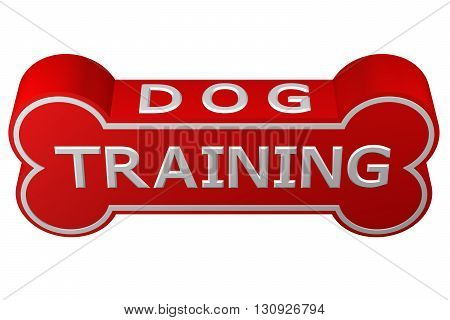 Concept: dog training. Dog bone with words - dog training. isolated on white background. 3D rendering.