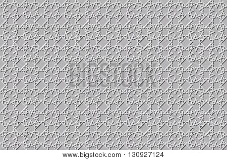 Islamic 3D Light Grey Background Architectural Muslim Texture. 3D Template For Islamic Design. Can B