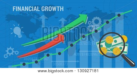 Vector business background. Concept background financial growth, improvement, analytics, earnings growth. Arrows shows growth, money, banknotes and abstract lines and transparent elements. Flat style
