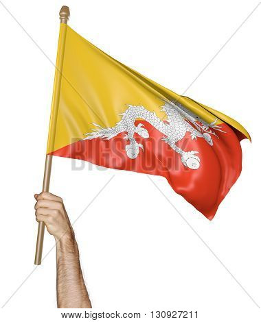 Hand proudly waving the national flag of Bhutan, 3D rendering
